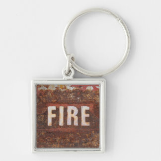 Fire sign on rusted steel plate. Gift for fireman? Silver-Colored Square Key Ring