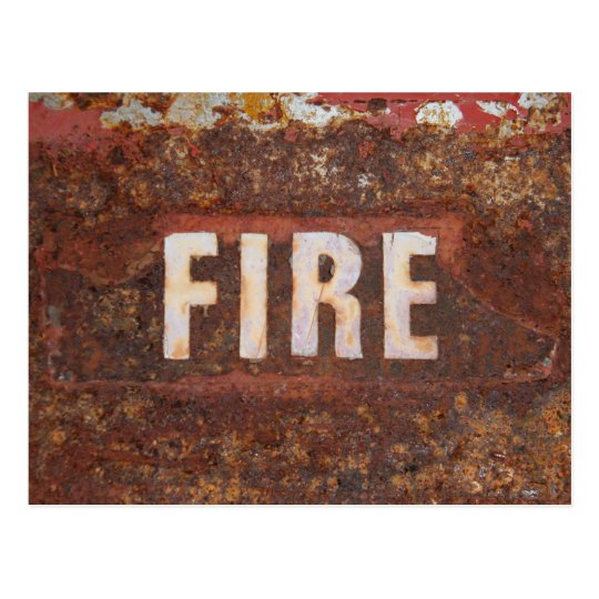 Fire sign on rusted steel plate. Gift for