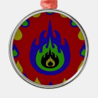 Fire Silver-Colored Round Decoration