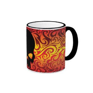 Fire skull Coffee Cup Ringer Mug