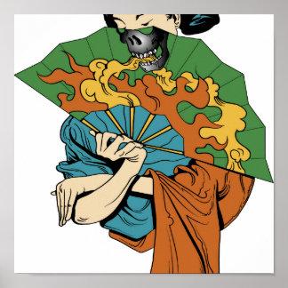 Fire Skull Geisha Print