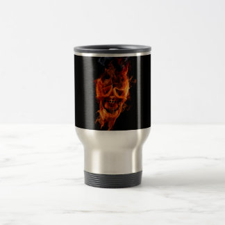 fire skull stainless steel travel mug