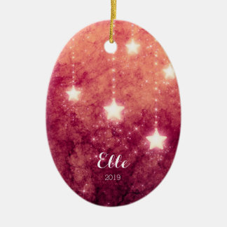 Fire Sky Christmas Moon Stars Picture Baby's First Christmas Ornament