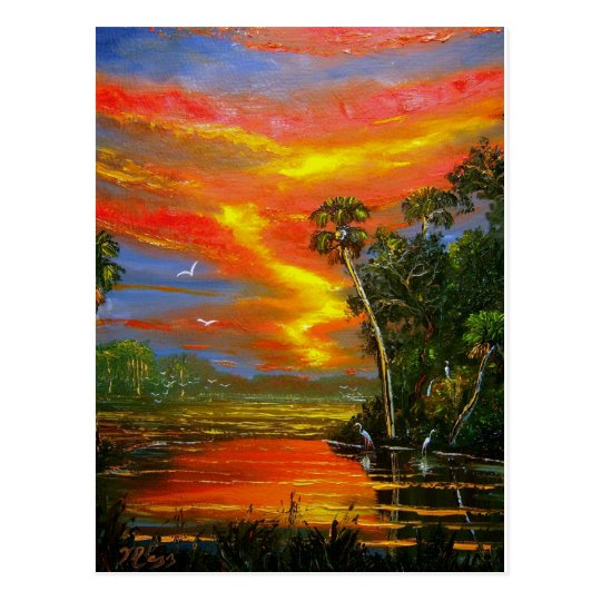 Fire Sky Sunset Postcard