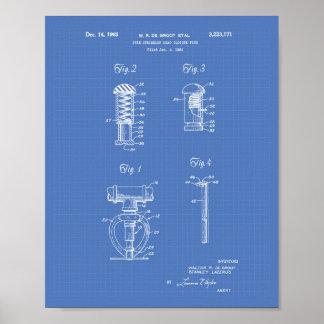 Fire Sprinkler Head 1965 Patent Art - Blueprint Poster