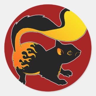 Fire Squirrel Classic Round Sticker