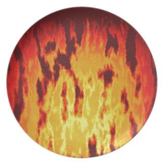 Fire texture dinner plate