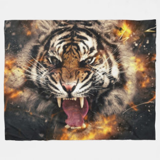 FIRE TIGER FLEECE BLANKET