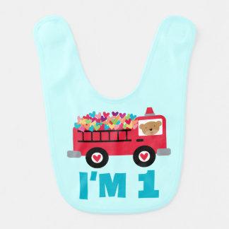 Fire Truck 1st Birthday Baby Bib