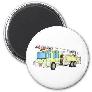Fire Truck 6 Cm Round Magnet