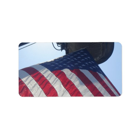 Fire Truck American Flag Aerial Tower Address Label