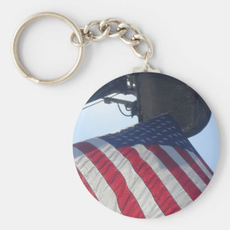 Fire Truck American Flag Aerial Tower Basic Round Button Key Ring