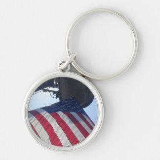 Fire Truck American Flag Aerial Tower Silver-Colored Round Key Ring