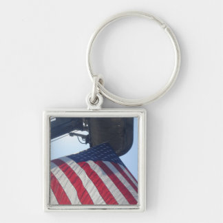 Fire Truck American Flag Aerial Tower Silver-Colored Square Key Ring