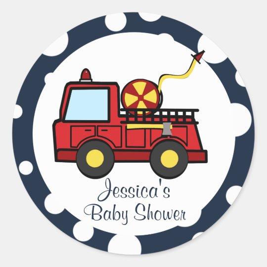 Fire Truck Baby Shower Classic Round Sticker