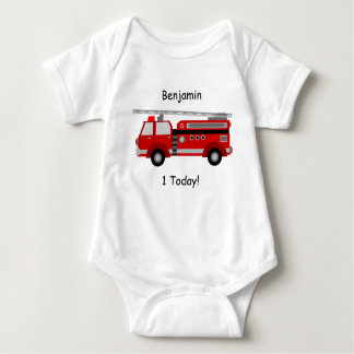 "Fire Truck Baby Vest ""1 Today"" With Name Baby Bodysuit"
