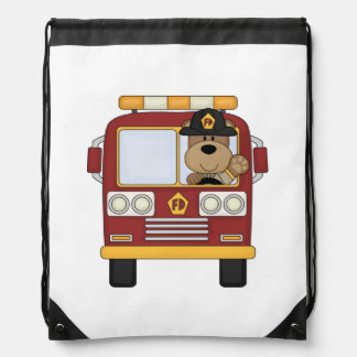 Fire Truck Bear Cinch Bag