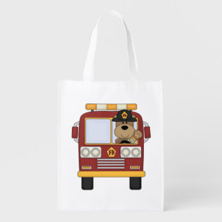 Fire Truck Bear Reusable Grocery Bags