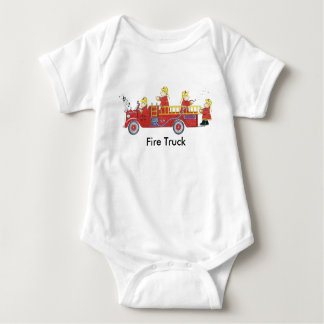 Fire Truck Bears Baby Bodysuit