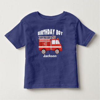 Fire Truck Birthday Boy Custom Toddler T-Shirt