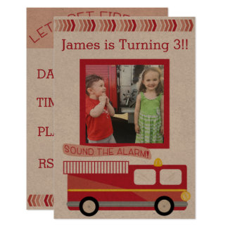 Fire Truck Birthday Invitation