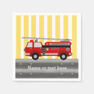 Fire truck birthday party disposable napkin