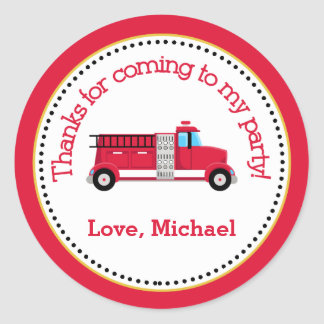 Fire Truck Birthday Party Favor Tag Sticker