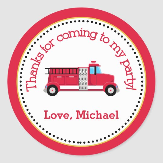 Fire Truck Birthday Party Favour Tag Sticker