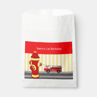 Fire truck birthday party personalized favour bags