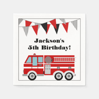 Fire Truck Birthday Party Personalized Paper Napkin