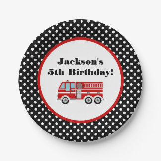 Fire Truck Birthday Party Personalized Paper Plate