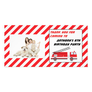 Fire Truck Birthday Party Thank You Photo Card