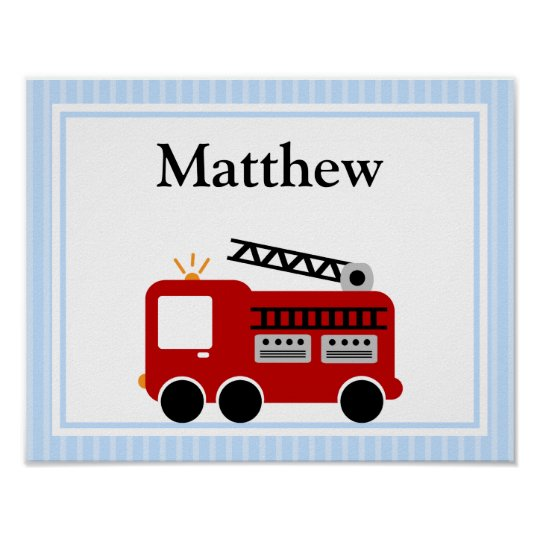 Fire Truck Blue Stripes Personalised Name Wall Art