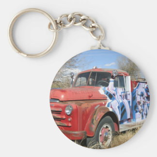 Fire Truck Cemetary Basic Round Button Key Ring