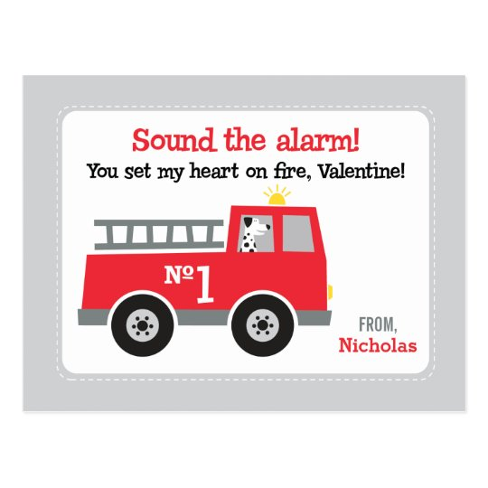 Fire Truck Class Valentines Postcard