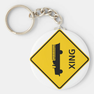 Fire Truck Crossing Highway Sign Basic Round Button Key Ring