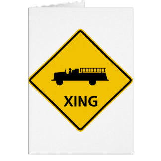 Fire Truck Crossing Highway Sign Card