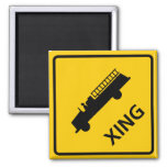 Fire Truck Crossing Highway Sign Square Magnet