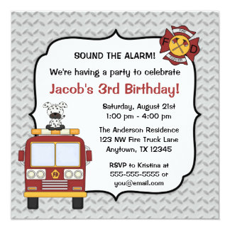 Fire Truck Dog Birthday Party Invitations