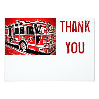 Fire Truck Engine Firefighter Flat Thank You Cards 9 Cm X 13 Cm Invitation Card