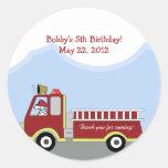 Fire Truck Fire Engine Round Custom Favour Sticker