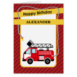 Fire Truck Firefighter Birthday Greeting Card