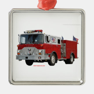 Fire_Truck_Flags Christmas Ornament