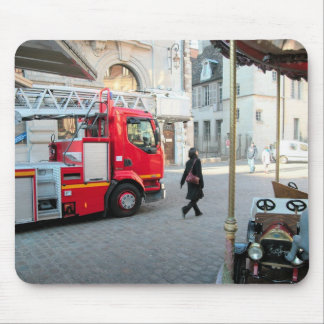 Fire truck in the marketplace 1 mouse mat