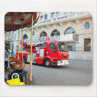 Fire truck in the marketplace mouse mat
