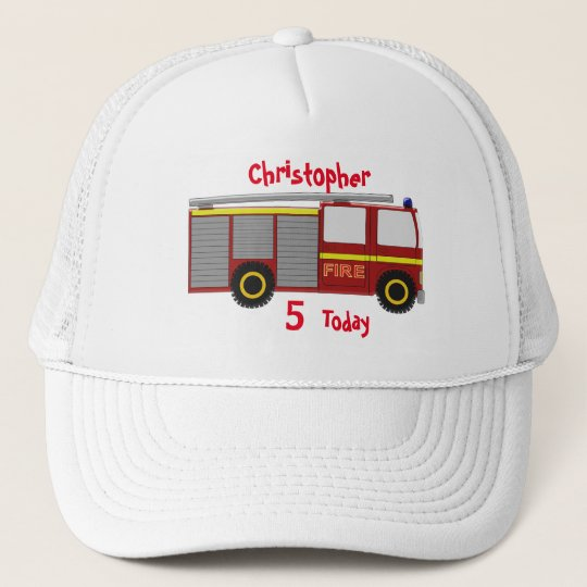 Fire Truck Just Add Name Birthday Trucker Hat