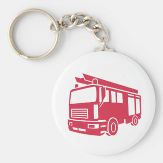 Fire truck basic round button key ring