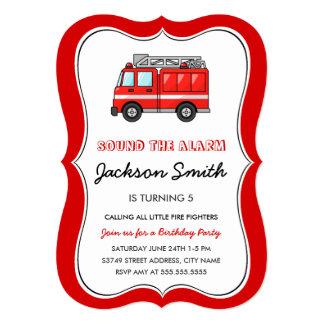 Fire Truck Kids Birthday Invite