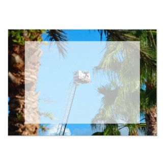fire truck ladder against sky framed palm trees personalized invitation card