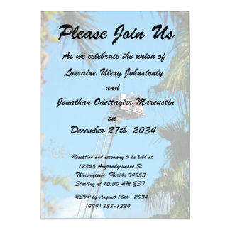 fire truck ladder against sky framed palm trees personalized invitation cards